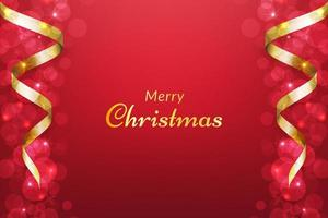 Red Christmas background with ribbon