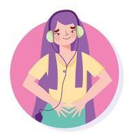 Hype girl listening to music vector
