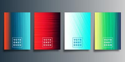 Set of colorful abstract line gradient covers vector
