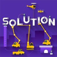 Construction site crane building Solution text
