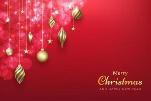 Christmas background with shiny gold ornaments