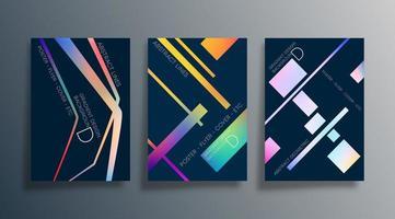conjunto de diseños abstractos de fondo oscuro vector