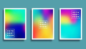 Colorful gradient blur backgrounds set vector