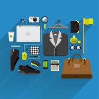 Item lifestyle and marketing on top view vector