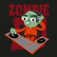 Zombie Djing with headphones vector