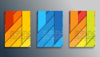Colored 3d striped cover template set