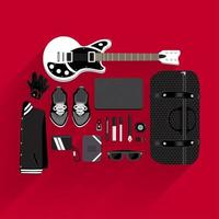 Top view of music items vector