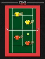 Tennis court with player position vector