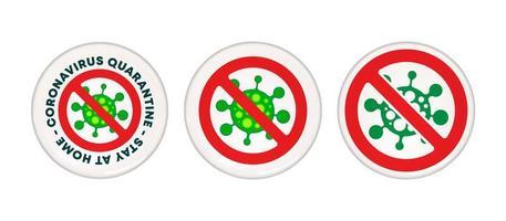 conjunto de botones de pin de cuarentena de coronavirus vector