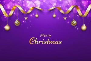 Purple christmas background with gold ribbon