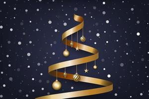 Christmas background with tree made of golden ribbon and snow