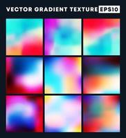 Colorful gradient texture pattern set vector
