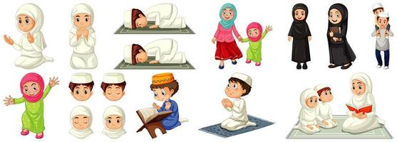 Set of different muslim people cartoon character