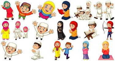 Set of different muslim people cartoon character isolated