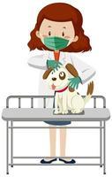 Veterinarian wearing mask and examining dog