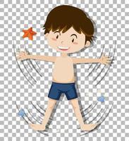 chico lindo con pantalones cortos sobre fondo transparente vector