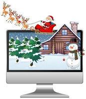 Navidad de invierno en la pantalla de la computadora de escritorio