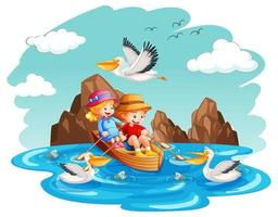Children row the boat in the stream on white background