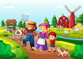 fazenda com celeiro vermelho e cena do moinho de vento