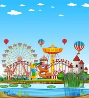 Amusement park with swamp scene at daytime with blank bright blue sky