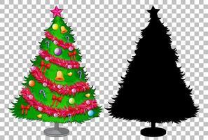 Set of christmas tree on transparent background