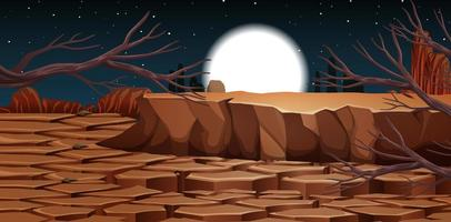 Desert with rock mountains landscape at night scene
