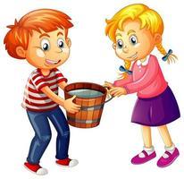 Niño y niña sosteniendo un balde de madera lleno de agua sobre fondo blanco.