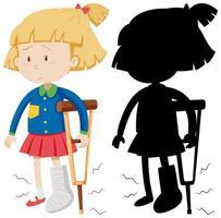 niña con muleta con su silueta vector