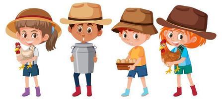 conjunto de diferentes niños con elementos de la granja