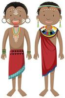 Ethnic people of African tribes in traditional clothing cartoon character vector