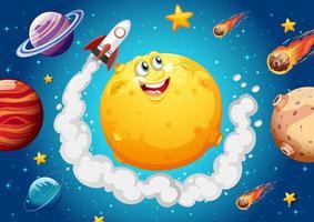 Luna con cara feliz en el fondo del tema de la galaxia espacial