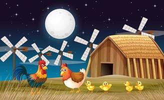 Escena de la granja con granero y molino de viento y pollo por la noche. vector