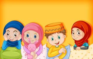 Muslim children cartoon character vector