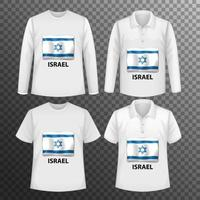 Set of different male shirts with Israel flag screen on shirts isolated