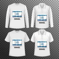 Conjunto de diferentes camisas masculinas con pantalla de bandera de Israel en camisas aisladas