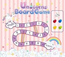 Board Game for kids in unicorn pastel color style template vector