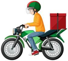 Man riding scooter on white background vector