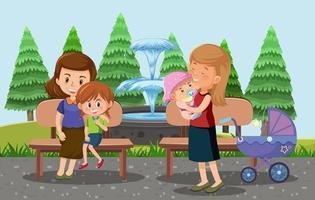 pais levam seus filhos e carrinhos de bebê para o parque estilo cartoon