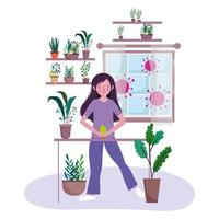 Young woman repotting plants at home vector