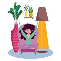 mujer joven, sentado, en, un, silla, en casa vector