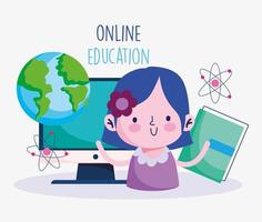 Girl with computer and educational icons
