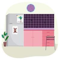 Kitchen interior with fridge vector