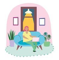 mujer joven, trabajando, en casa, con, computador portatil vector