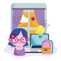 Girl studying from home during coronavirus pandemic vector