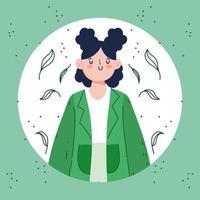 mujer con cabello negro vector