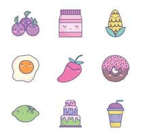 conjunto de iconos de comida de dibujos animados lindo vector