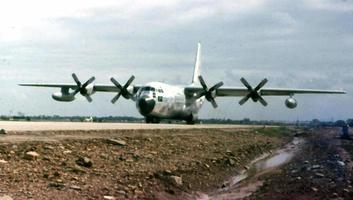 C-131 landing at Danang Air Base 1968