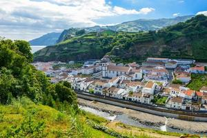 Village between mountains, island of Sao Miguel, Azores, Portugal, Europe