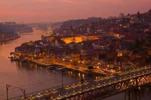 old town of Oporto at sunset, Portugal photo