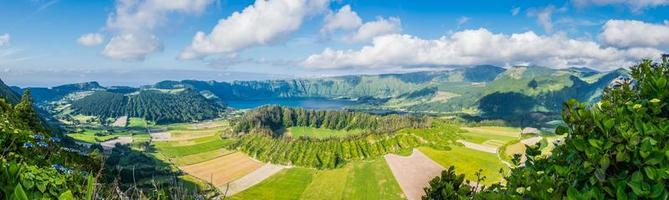 Panoramic view on the lake of Sete Cidades Azores